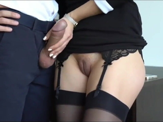 Kinky assistant with taut coochie jerking off her boss trunk